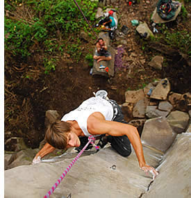 Saftey meassures and well maintained gear is used for rock climbing in Boquete